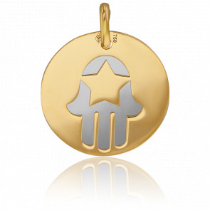 Médaille Or Jaune 18K & Fatma Acier Gris
