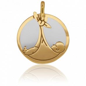 Médaille Bébé Or Jaune 18K & Acier Gris