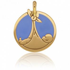 Médaille Bébé Or Jaune 18K & Acier Bleu