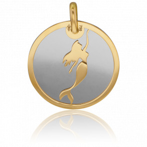 Médaille Sirène Or Jaune 18K & Acier Gris
