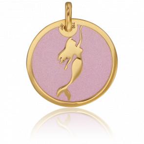 Médaille Sirène Or Jaune 18K & Acier Rose