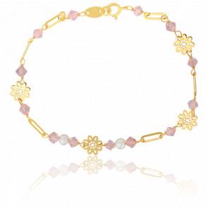 Bracelet Fleurs et Perles Or Jaune 9K - Lucas Lucor