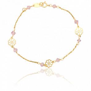 Bracelet Fleurs et Perles Roses Or Jaune 9K - Lucas Lucor
