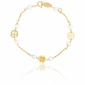 Bracelet Perles et Fleurs Or Jaune - Lucas Lucor