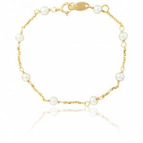 Bracelet Perles Blanches Or Jaune - Lucas Lucor