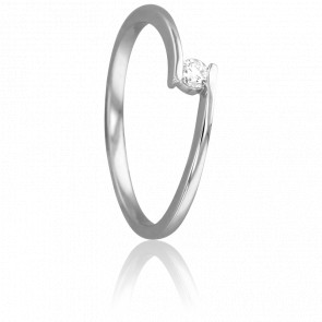 Bague Solitaire Apesanteur Or Blanc & Diamant 0,08ct