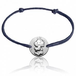 Bracelet Médaille Rêveur Or Blanc 9K