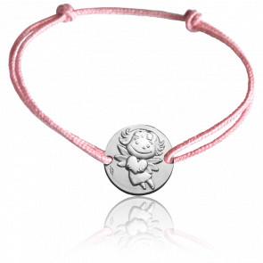 Bracelet Médaille Précieuse Or Blanc 9K