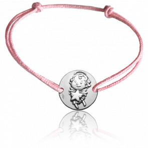 Bracelet Médaille Maline Or Blanc 9K