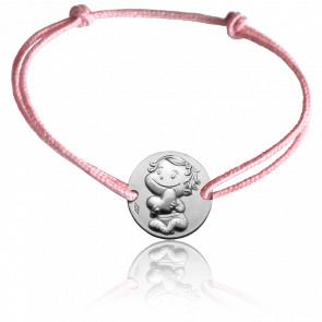 Bracelet Médaille Câline Or Blanc 9K
