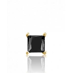 1 Boucle d'Oreille Black Square 1 ct Or Jaune 18K