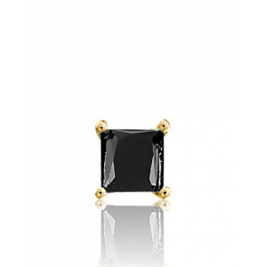 1 Boucle d'Oreille Or Jaune 18K, Black Square 1 ct