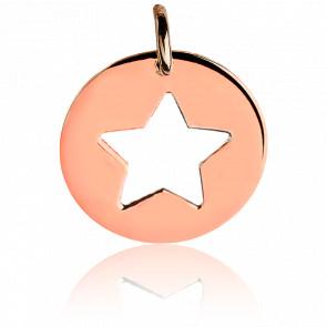 Médaille Etoile Argent Plaqué Or Rose