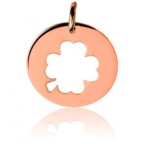 Médaille Trèfle Argent Plaqué Or Rose 18K