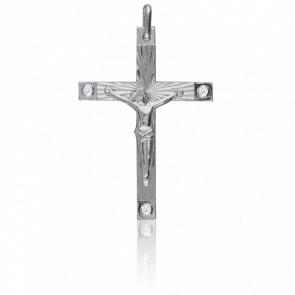 Christ en Croix 34 x 45 mm  Or Blanc 18K