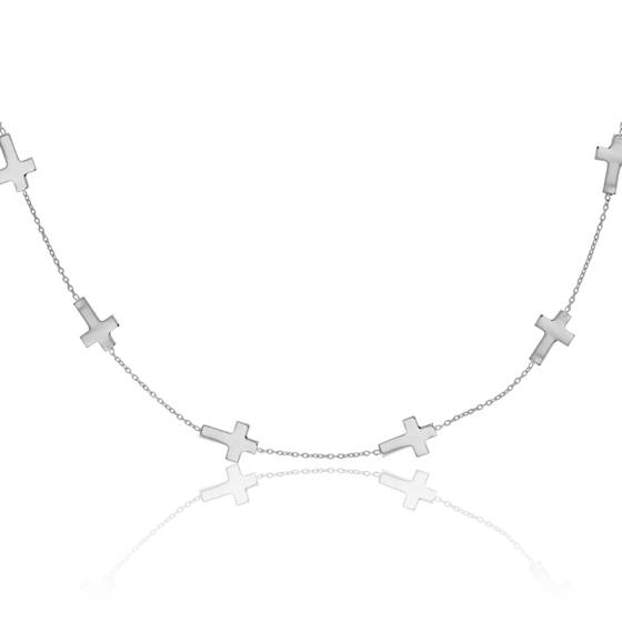 Collier Croix Or Blanc