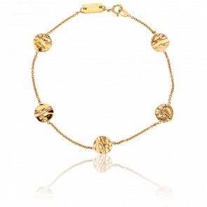Bracelet Pastilles Froissées Or Jaune