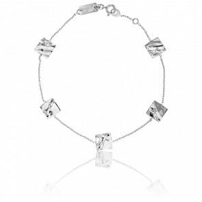 Bracelet Carrés Froissés Or Blanc