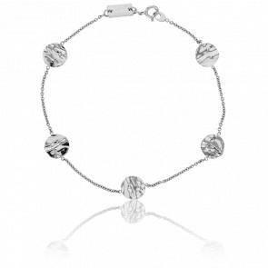 Bracelet Pastilles Froissées Or Blanc