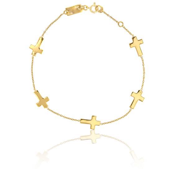 Bracelet Croix Or Jaune