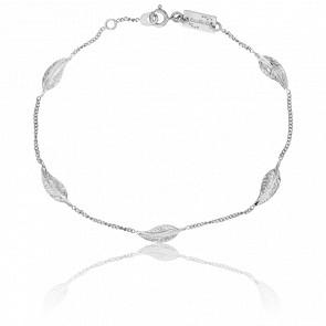Bracelet Plume Or Blanc 9K