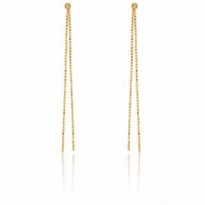 Boucles d'oreilles pendantes chaînes boules, or jaune 9 carats