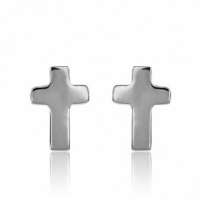 Boucles d'oreilles croix, or blanc 9 carats