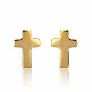 Boucles d'oreilles croix, or jaune 9 carats