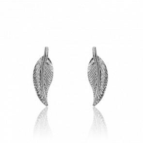 Boucles d'oreilles plume en or blanc 9 carats