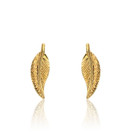 Boucles d'oreilles plume en or jaune 9 carats