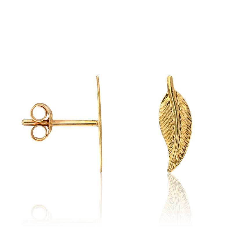 boucles d 39 oreilles puces plumes en or jaune 9 carats scarlett or scarlett ocarat. Black Bedroom Furniture Sets. Home Design Ideas