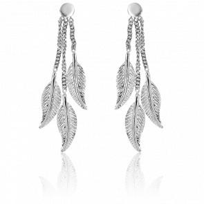 Boucles d'oreilles pendantes plumes, or blanc 9 carats