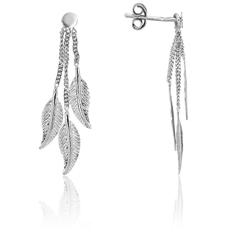 boucles d 39 oreilles pluie de plumes en or blanc 9 carats scarlett or scarlett ocarat. Black Bedroom Furniture Sets. Home Design Ideas