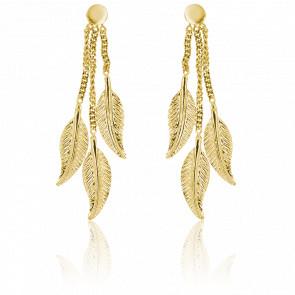 Boucles d'oreilles pendantes plumes, or jaune 9 carats