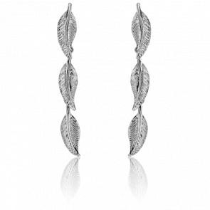 Boucles d'oreilles pendantes, or blanc 9 carats, trio de plumes