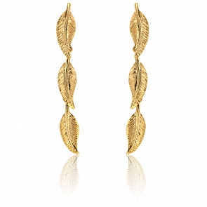 Boucles d'oreilles pendantes, or jaune 9 carats, trio de plumes