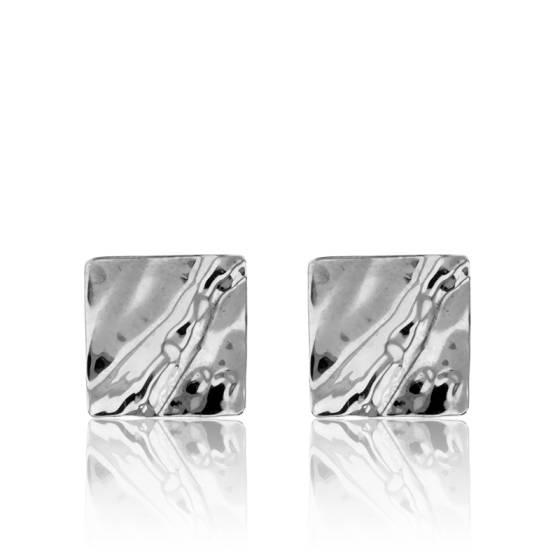 Boucles d'oreilles or blanc 9K, carrées effet froissé