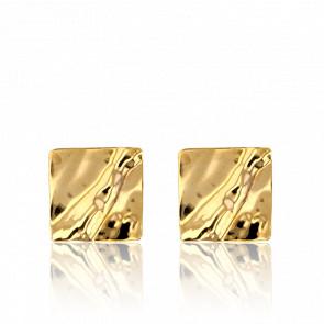 Boucles d'oreilles or jaune 9K, carrées effet froissé