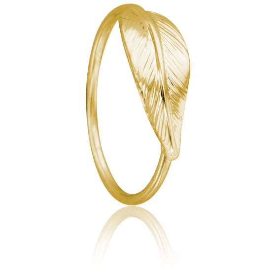 Bague Plume Or Jaune 9K