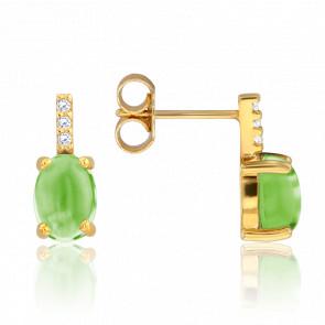 Boucles d'oreilles péridot & diamants, or jaune 9 carats