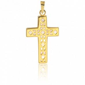 Croix Géométrique Nacre & Or Jaune 18K