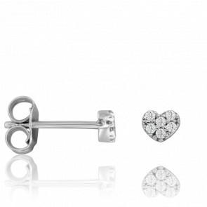 Boucles d'Oreilles Coeur Diamanté Or Blanc 9 Carats