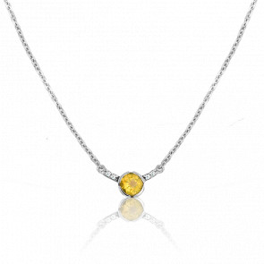 Collier Rosa Citrine Or Blanc 9 Carats