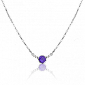 Collier Rosa Iolite Or Blanc 9 Carats