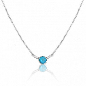 Collier Rosa Topaze Or Blanc 9 Carats