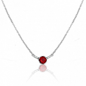 Collier Rosa Grenat Or Blanc 9 Carats