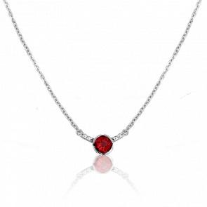 Collier Rosa Grenat Or Blanc 18K