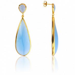 Boucles d'Oreilles Goutte Bleu Clair Collection Artemis