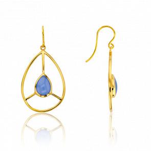 Boucles d'Oreilles Rétro Bleu Ciel Collection Artemis
