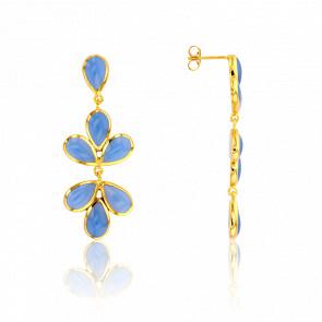 Boucles d'Oreilles Bouquet Bleu Ciel Collection Artemis